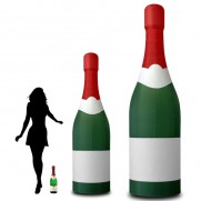 Aufblasbare Sektflasche mit individuellen Labels